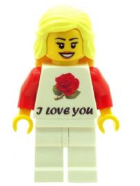 Girl with I Love You T-Shirt, Perfect for Valentines, Birthday or any other Special Occasions - Custom Designed Minifigure